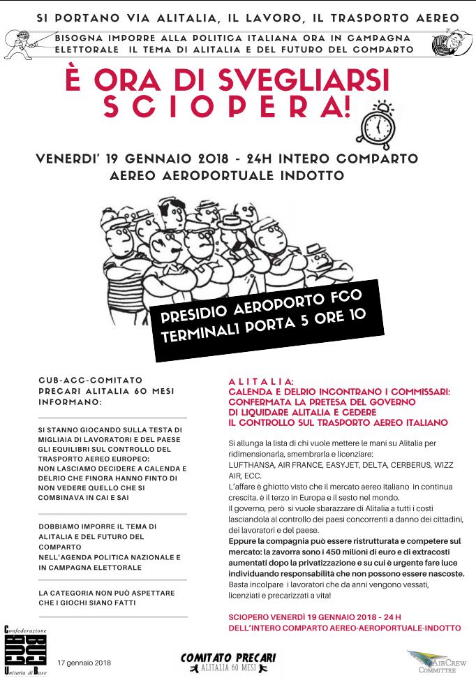 Solidarietà alla lotta dei lavoratori e delle lavoratrici di Alitalia – Sciopero 19 gennaio 2018